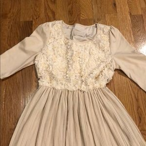 Babydoll Flower and Pleated Dress - RUNS SMALL